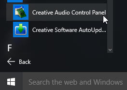 Support Creative Com - How to launch basic Creative Audio Control