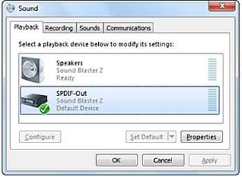 Support Creative Com - Audio Outputs' behavior for Sound Blaster