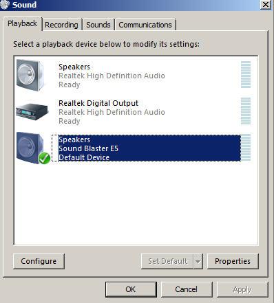 Support Creative Com - Sound Blaster E5: USB Audio Playback