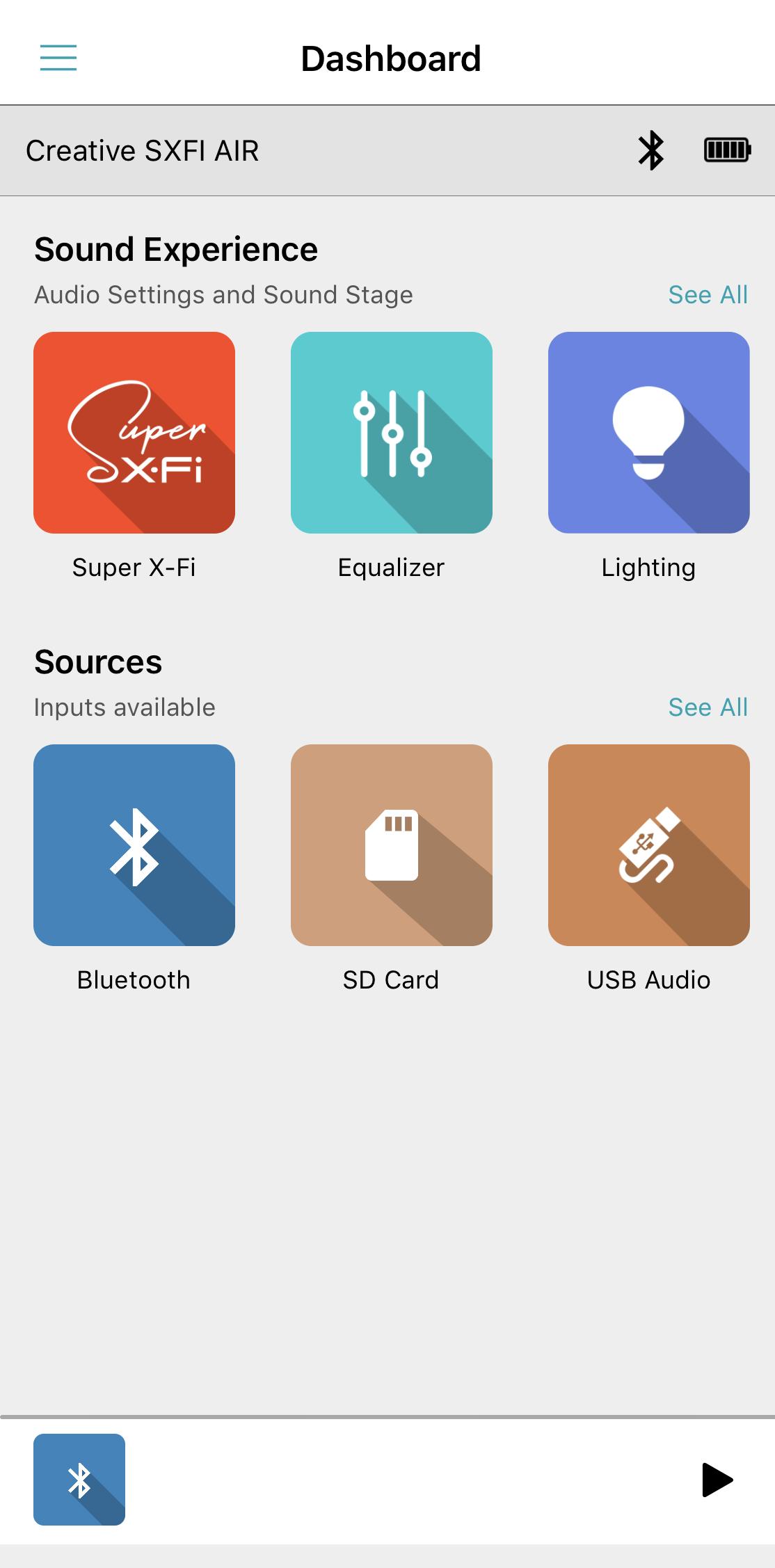 Support Creative Com - SXFI AIR: SXFI AIR Control