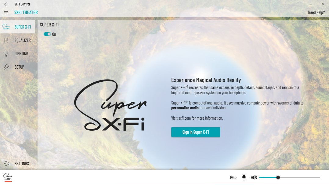 Support Creative Com - SXFI THEATER: SXFI Control
