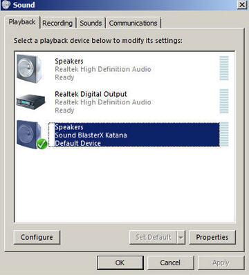 Support Creative Com - Sound BlasterX Katana: USB Audio